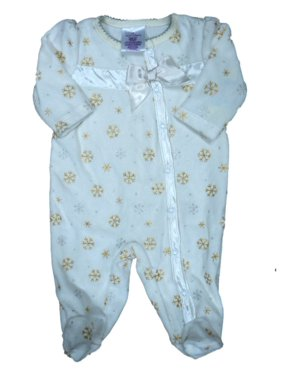 Product Image Infant Girls Ivory   Gold Velour Snowflake Blanket Sleeper  Baby Footed Pajamas c5e7f7a24