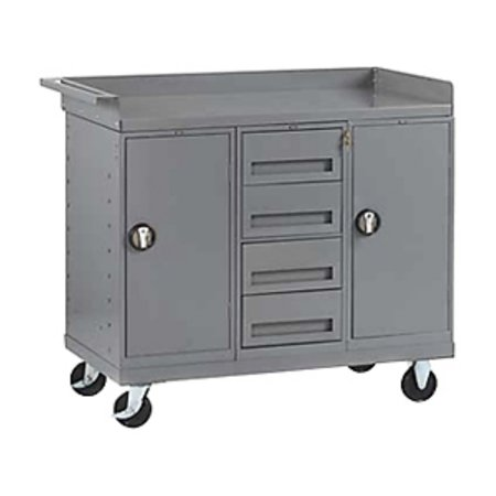 - Tennsco Mobile Workbench with 2 Cabinets and Drawers