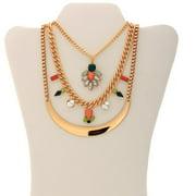 Gold-Tone Multi-Color Fashion Trio Statement Necklace, Convertible 3-in-1 Necklace