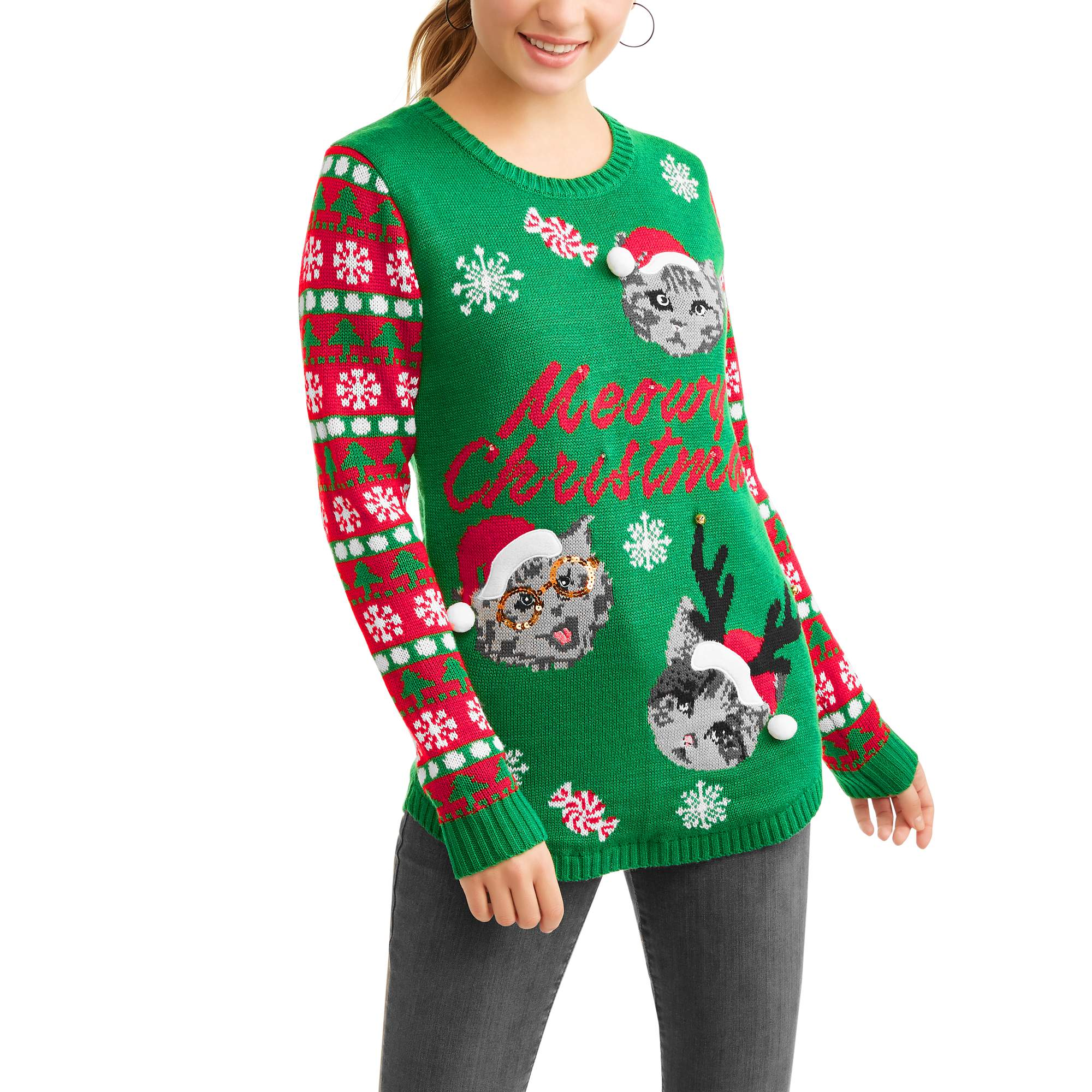 No Boundaries Juniors Light Up Meowy Christmas Holiday Sweater