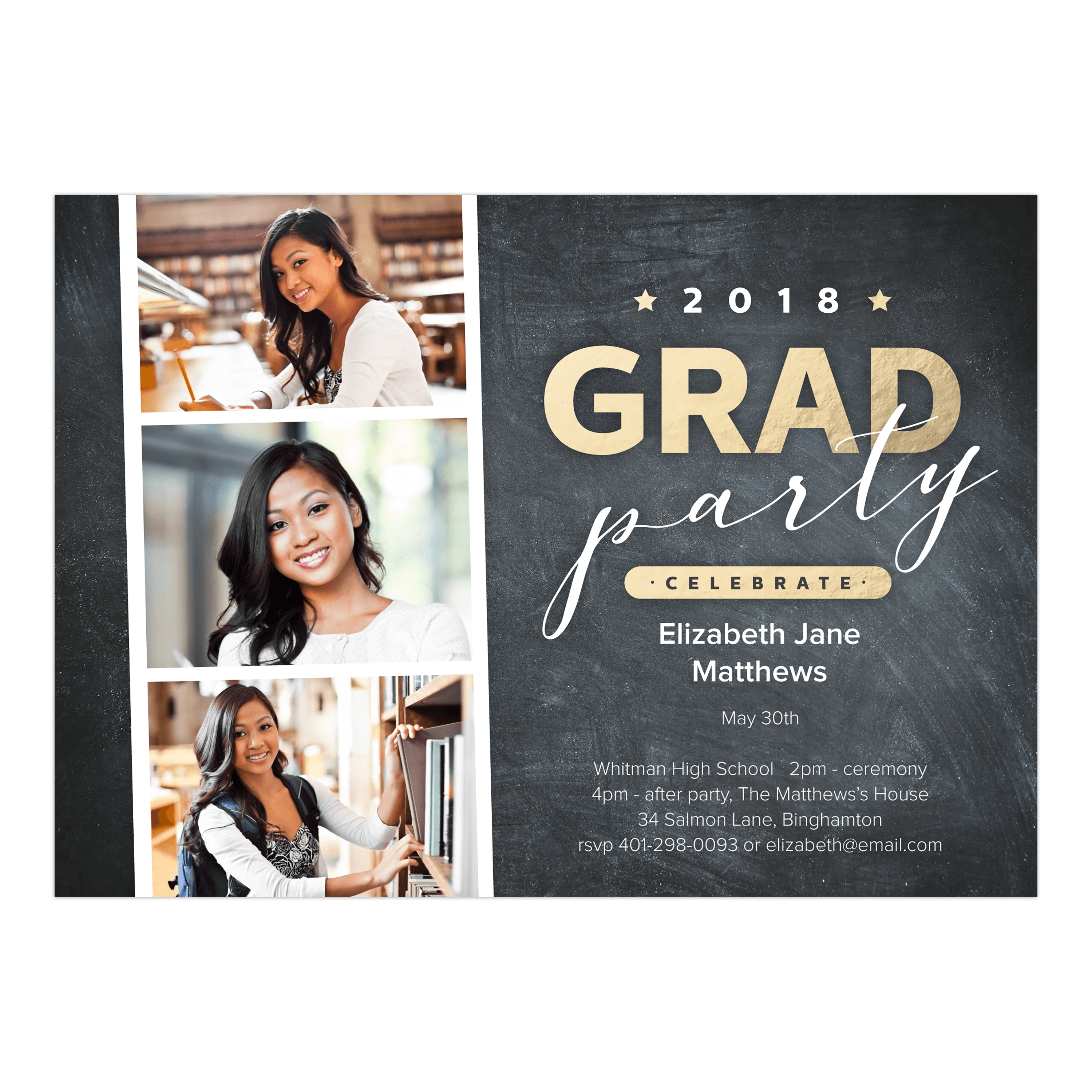 Personalized Graduation Invitation - Photostrip - 5 x 7 Flat