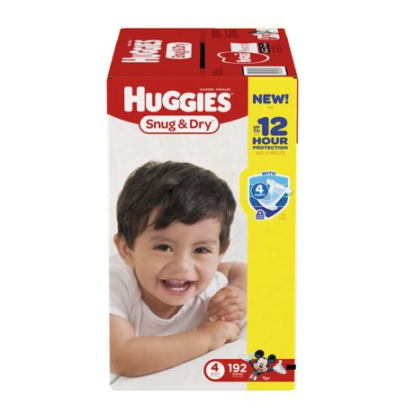 HUGGIES Snug & Dry Diapers, Size 4, 192 Diapers