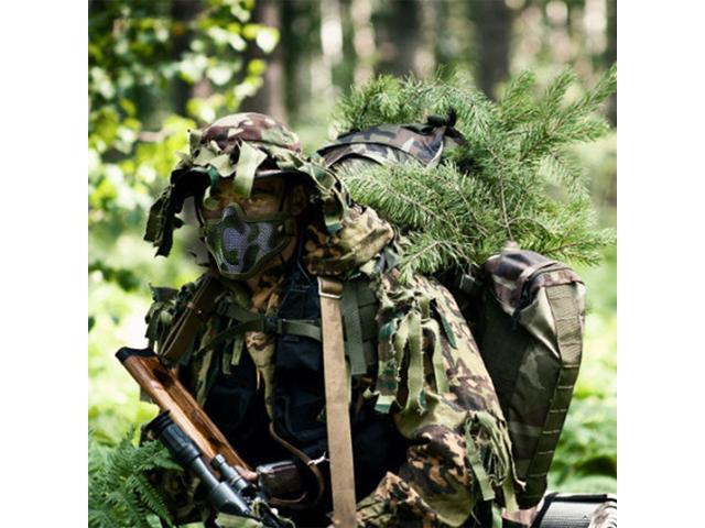 Paintball Hunting Tactical Strike Protective Mask Half Face Military Mesh Jungle Camouflage by