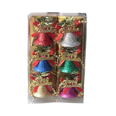 Christmas Tree Ornaments,Outgeek 6Pcs Glitter Christmas Hanging Bells Xmas Trees Ornaments for Party Favors - Christmas Glitter