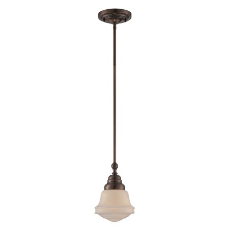 Lite Source Towne 1-Light Pendant, Antique Copper Finish with Frost Glass Shade