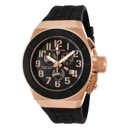 Swiss Legend 13844-Rg-01-Rba Trimix Diver 2.0 Chrono Black Silicone And Dial Rose-Tone Case Watch