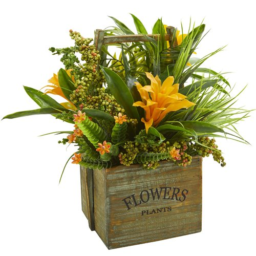 Bay Isle Home Artificial Bromeliad Mixed Floral Arrangement in Planter