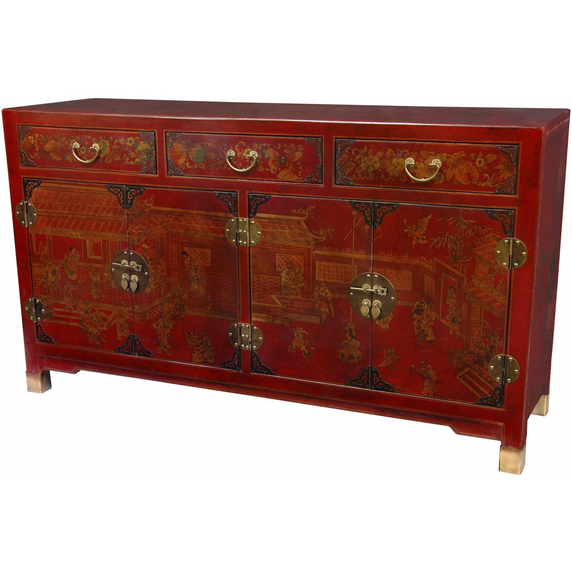 Red Lacquer Large Buffet Table