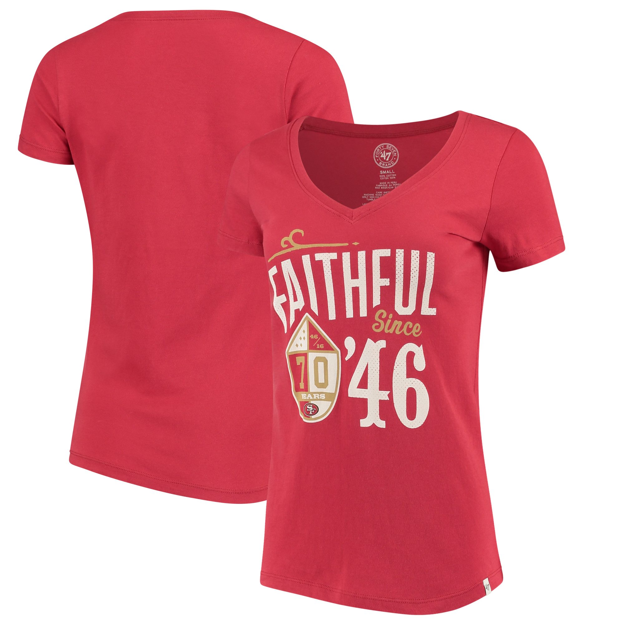 San Francisco 49ers '47 Women's Faithful V-Neck T-Shirt - Scarlet