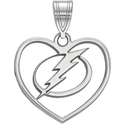 LogoArt NHL Tampa Bay Lightning Sterling Silver Pendant in Heart
