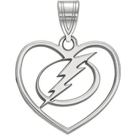 Logoart Nhl Tampa Bay Lightning Sterling Silver Pendant In Heart