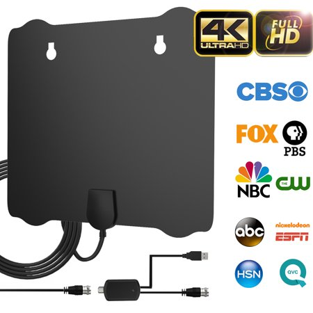 2019 Upgraded Indoor HDTV Antenna, 80-100 Miles Long Range Amplified Digital TV Antenna , 4K UHF VHF 1080p Free Channels & All TV's High Reception w/ Detachable Amplifier Signal Booster and 18FT (Am Antenna Reception)