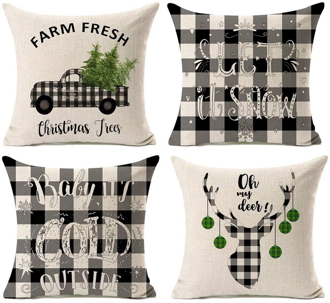 Popeve Set Of 4 Christmas Decorations Pillow Covers Christmas Buffalo Plaid Farmhouse Decor Throw Pillow Cases Retro Truck Cushion Cover 18 X 18 Inch Home Decoration Black Walmart Com Walmart Com