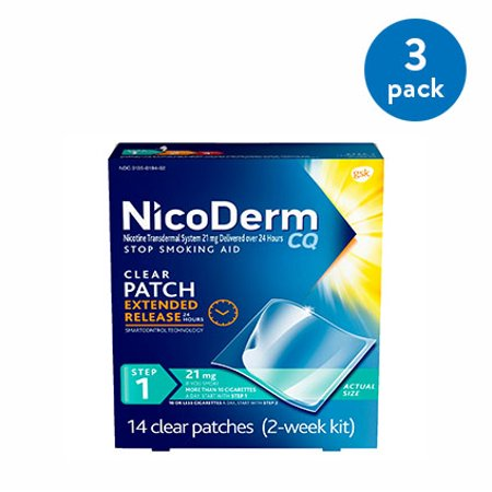 NicoDerm CQ Nicotine Patch, Clear, Step 1 to Quit Smoking, 21mg, 14 Count