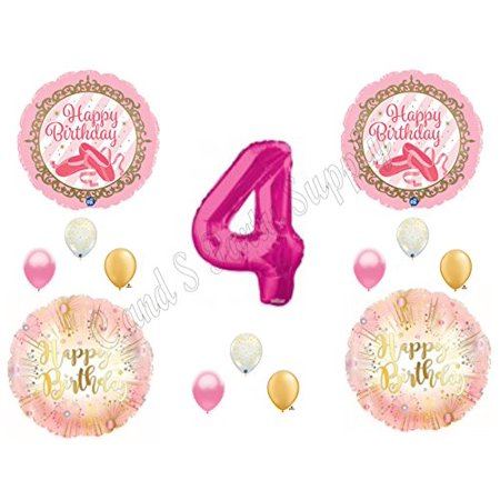 BALLERINA Twinkle Toes Gold Pink 4th Birthday Party Balloons Decoration Supplies Fourth (Ballerina Birthday)
