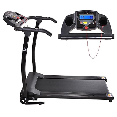 GHP 1100W Black PVC Running Belt Folding Exercise Treadmill with 3 Built In Programs