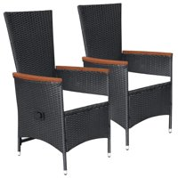 WALFRONT Outdoor Chairs 2 pcs with Cushions Poly Rattan Black