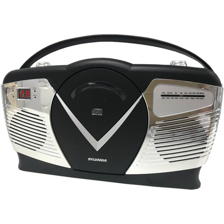 Sylvania SRCD212 Retro-Style Portable CD Radio Boom Box (Piano Black) - Retro Boombox