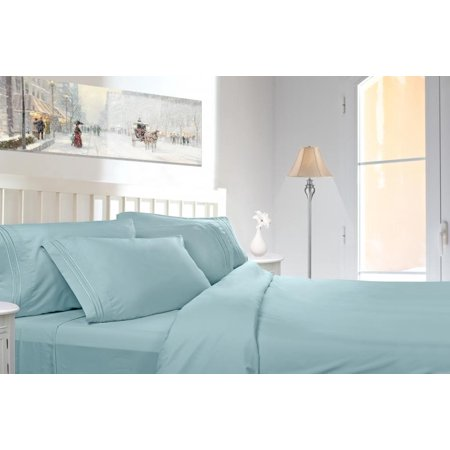 Clara Clark 1800 Series Deep Pocket 4Pc Bed Sheet Set Queen Size  Light Blue