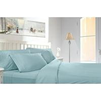 Clara Clark 1800 Series Deep Pocket 5pc Bed Sheet Set Split King Size, Light Blue