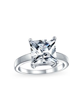 Simple 3CT Square Brilliant Princess Cut AAA CZ Solitaire Engagement Ring Thin Band 925 Sterling Silver For Women