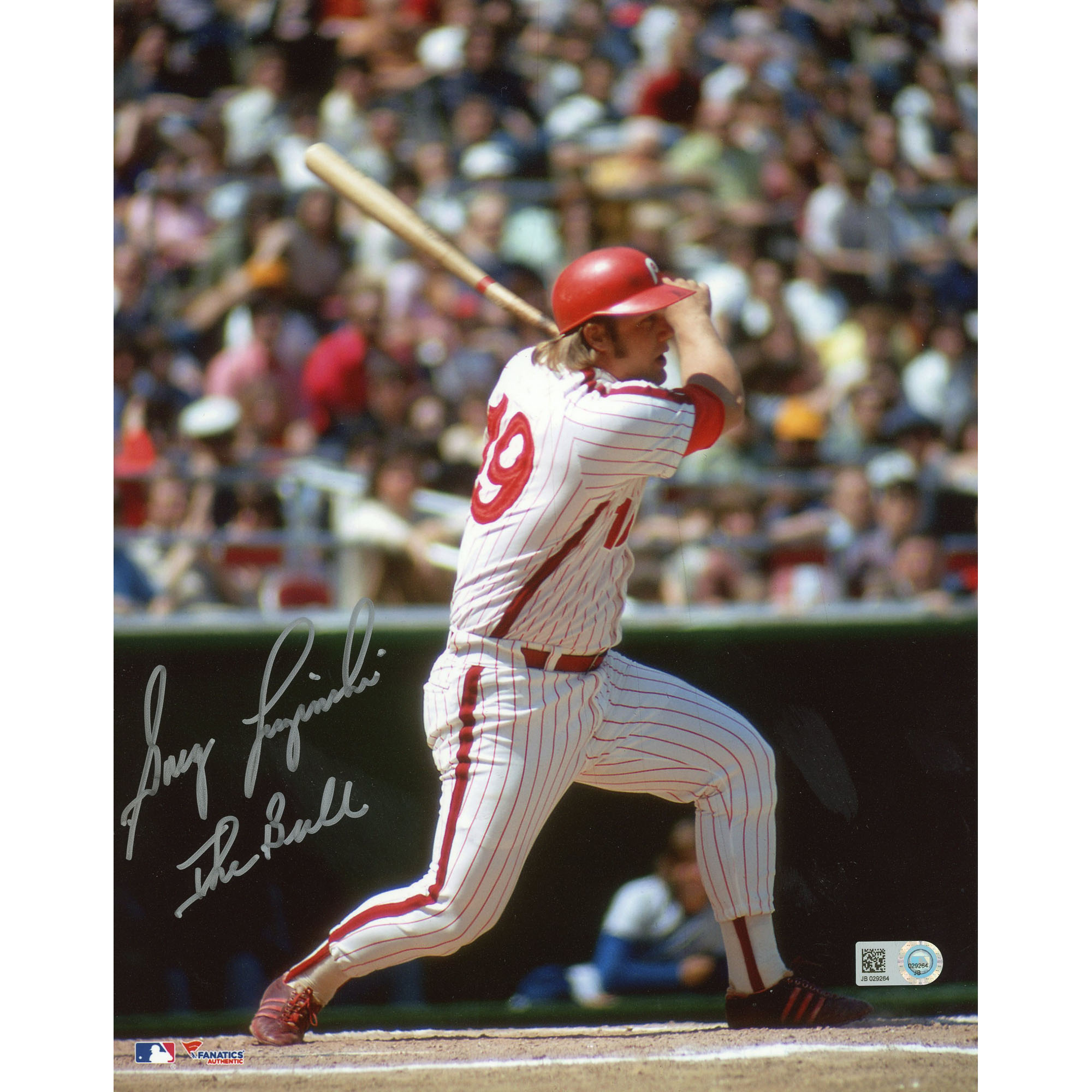 "Greg Luzinski Philadelphia Phillies Fanatics Authentic Autographed 8"" x 10"" White Swinging Photograph with The Bull Inscription - No Size"