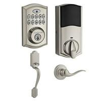 Kwikset SmartCode 913  Deadboltw/Smart Key & Arlington Handleset (Satin Nickel)