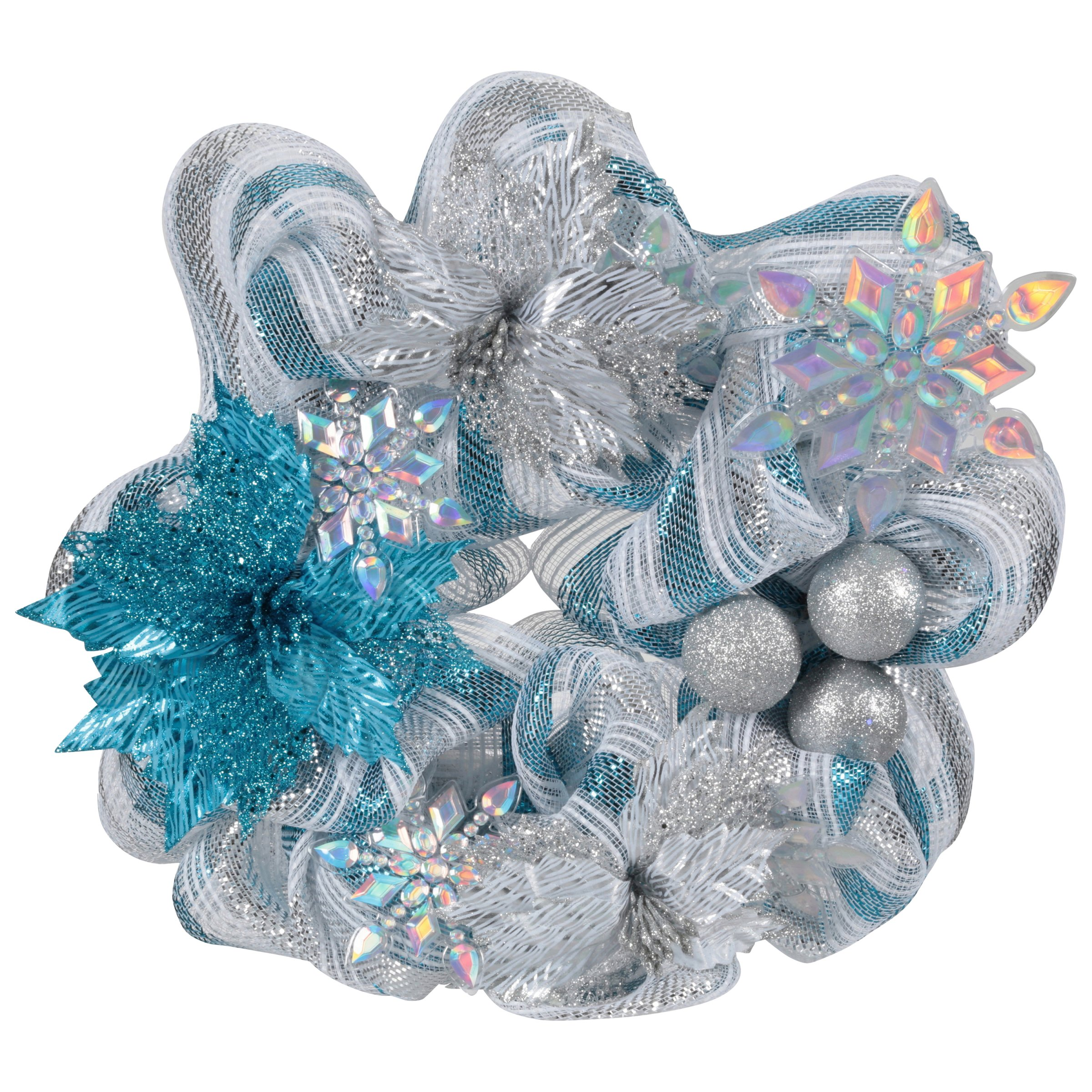 Wal-Mart Stores, Inc. Holiday Time Blue & Silver 20-Inch Mesh Wreath