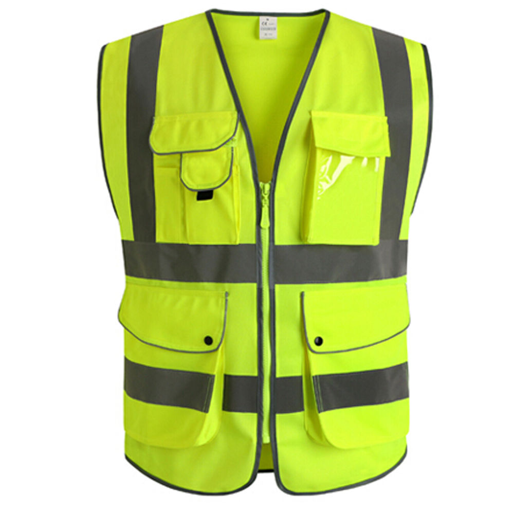 Moaere 5 Pockets Class 2 High Visibility Zipper Front Safety Vest With Reflective Strips Green Meets ANSI/ISEA Standards