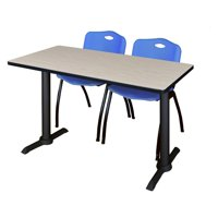 """Cain 48"""" x 24"""" Maple Training Table and 2 """"M"""" Stack Chairs, Multiple Colors"""