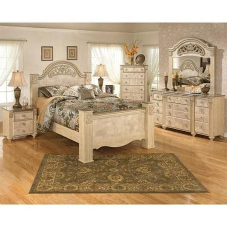 Ashley Saveaha 6 Piece Wood Queen Panel Bedroom Set In Beige Walmart Com
