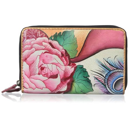 - Anuschka Leather Women's Twin Top Leather Organizer Wallet Rosy Reverie OS