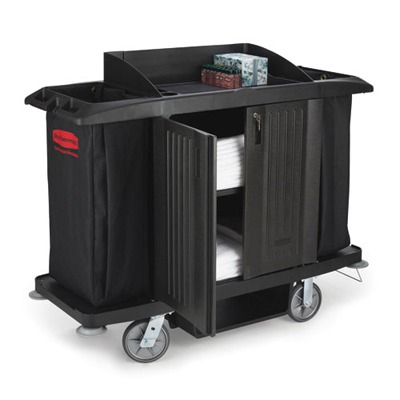 Black Full Size Housekeeping cart with Door 60 X 22 X 50 RCP6191BLA