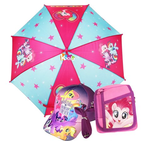 My Little Pony Girls Umbrella with 3D handle w/Shoulder Pouch & Cap Hat 4-8yr (Ar15 Handle)