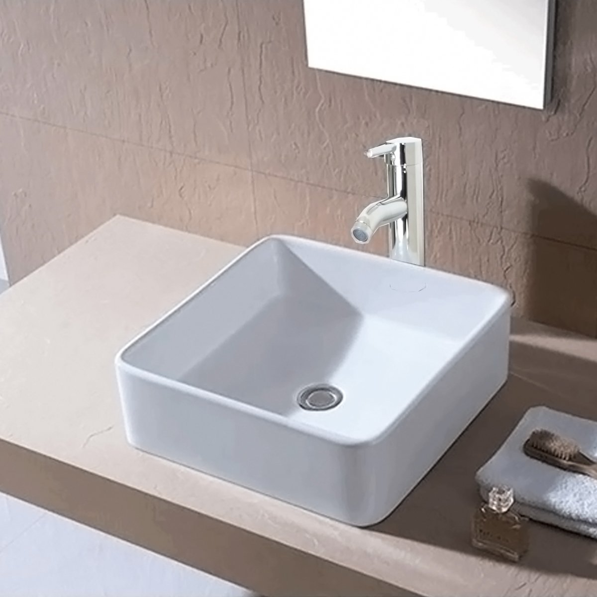 Buy Ainfox Bathroom White Square Lavatory Porcelain Ceramic Vanity Vessel Sink Basin & Pop up... by Ainfox