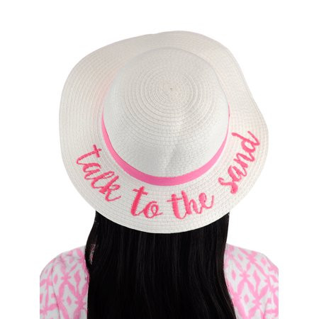 C.C - C.C Children s Weaved Crushable Beach Embroidered Quote Flop Brim Sun  Hat a03a70ad97f8