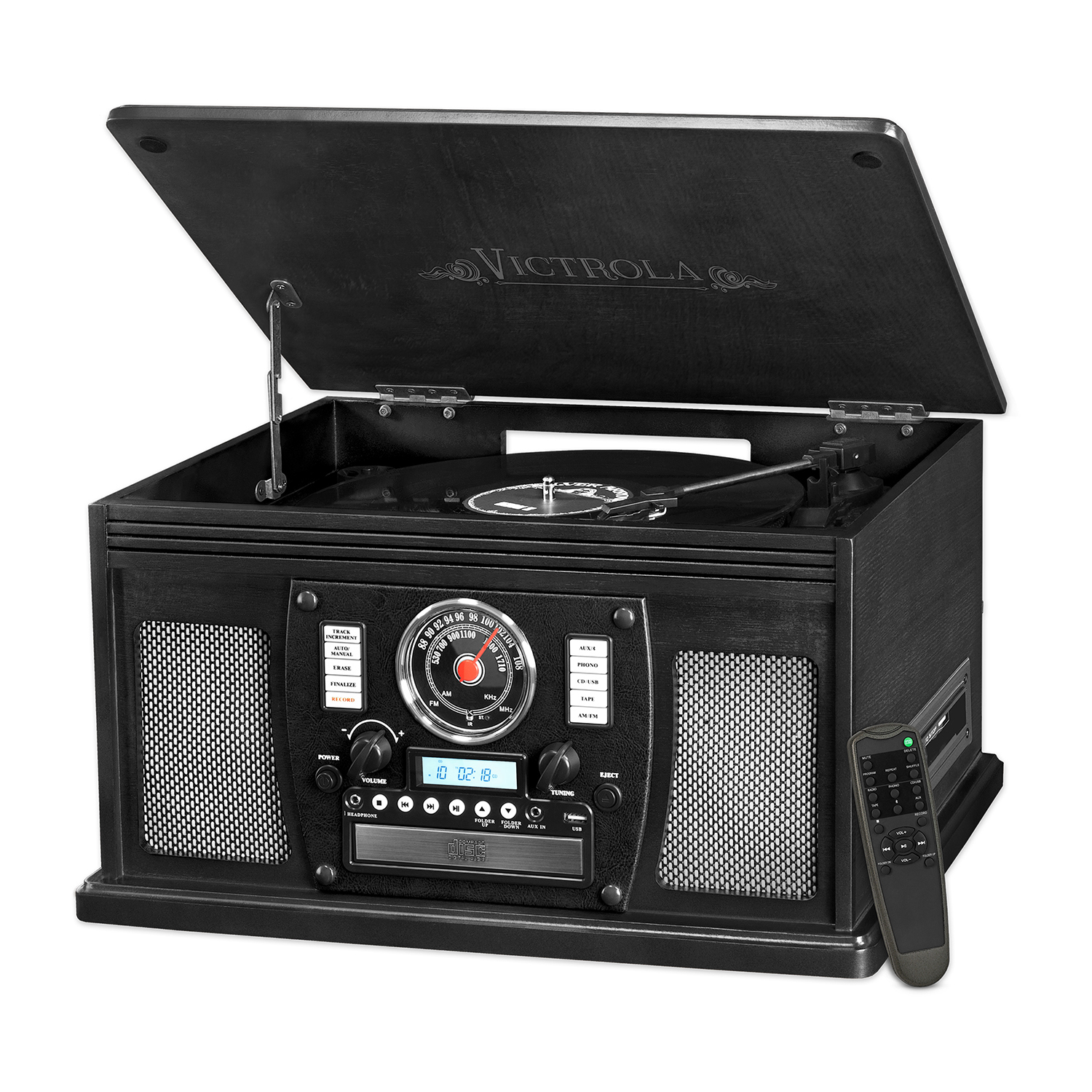 Victrola Wood 8-in-1 Nostalgic Bluetooth Record Player with USB Encoding  and 3-speed Turntable - Mahogany