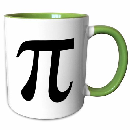 3dRose Pi symbol math sign. Mathematical black and white mathematics number - Two Tone Green Mug, 11-ounce
