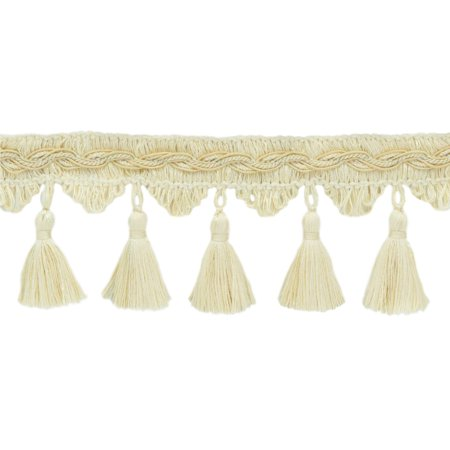 - Veranda Collection 3.5 Inch Tassel Fringe Trim - Ecru, Ivory, Cream, Style# VTF035, Color: Light Sand - VNT2,  Sold By the Yard