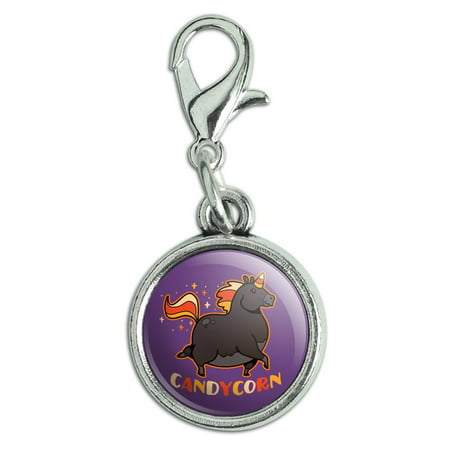 Halloween Candy Bracket (Candycorn Candy Corn Unicorn Halloween Antiqued Bracelet Pendant Zipper Pull Charm with Lobster)
