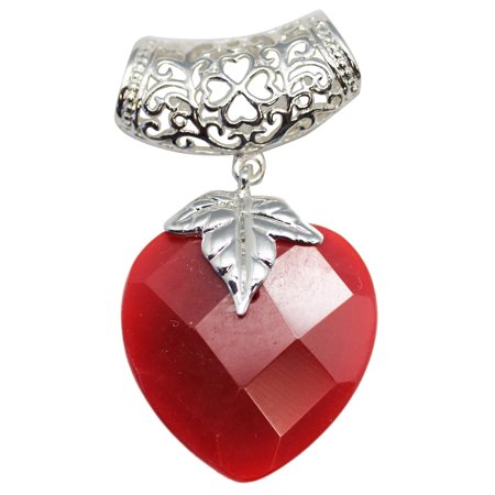 - Blood Red Faux Mini Heart Stone Pendant With Elongated Necklace Loop