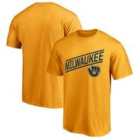 Men's Majestic Gold Milwaukee Brewers Upward Momentum T-Shirt