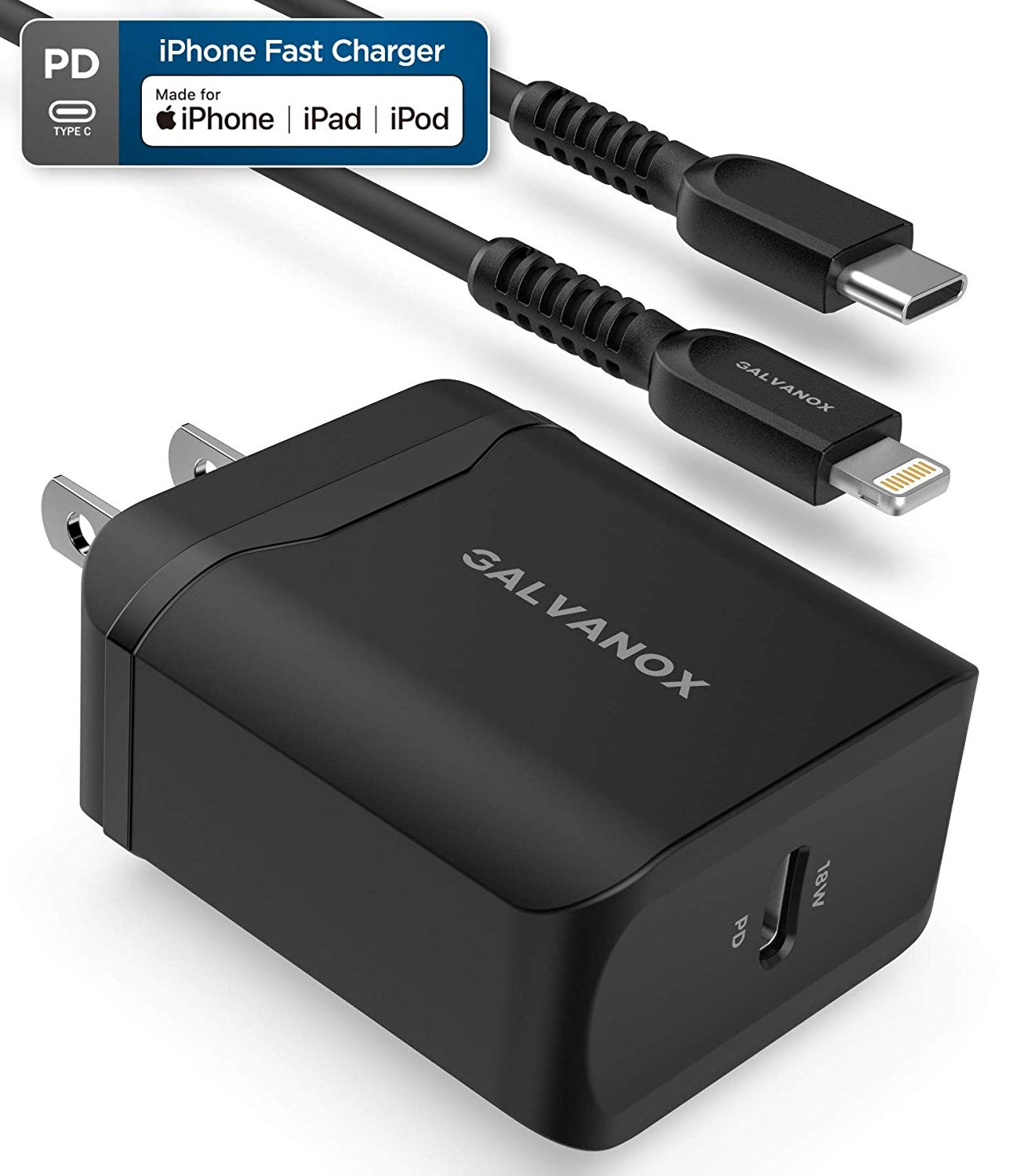 Galvanox Fast Charger for iPhone 11 Models (18W) Includes Apple MFi Certified Cable, USB C to Lightning with Rapid Charging PD Wall Plug (Supports