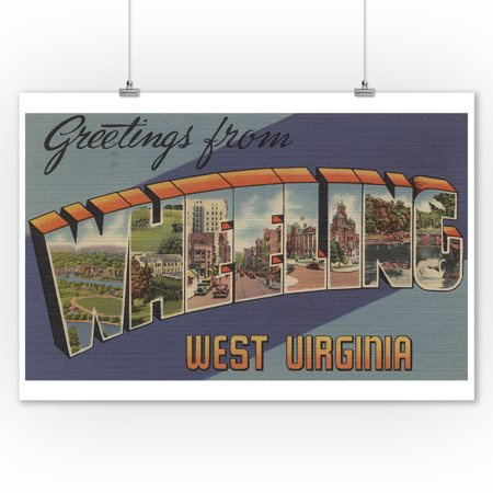 Greetings From Wheeling  West Virginia  9X12 Art Print  Wall Decor Travel Poster