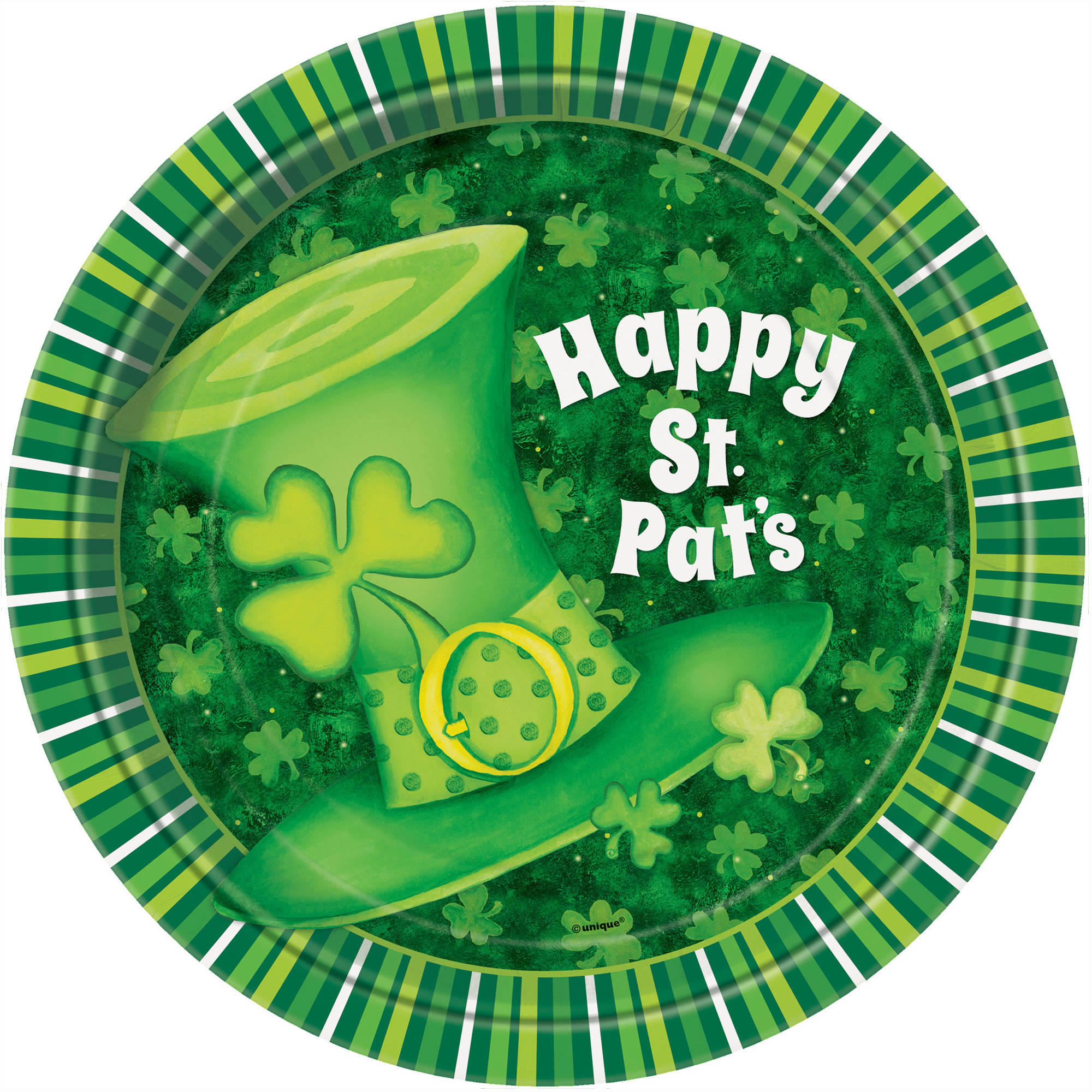 "7"" Lucky Stripes St. Patrick's Day Party Plates, 8-Count"