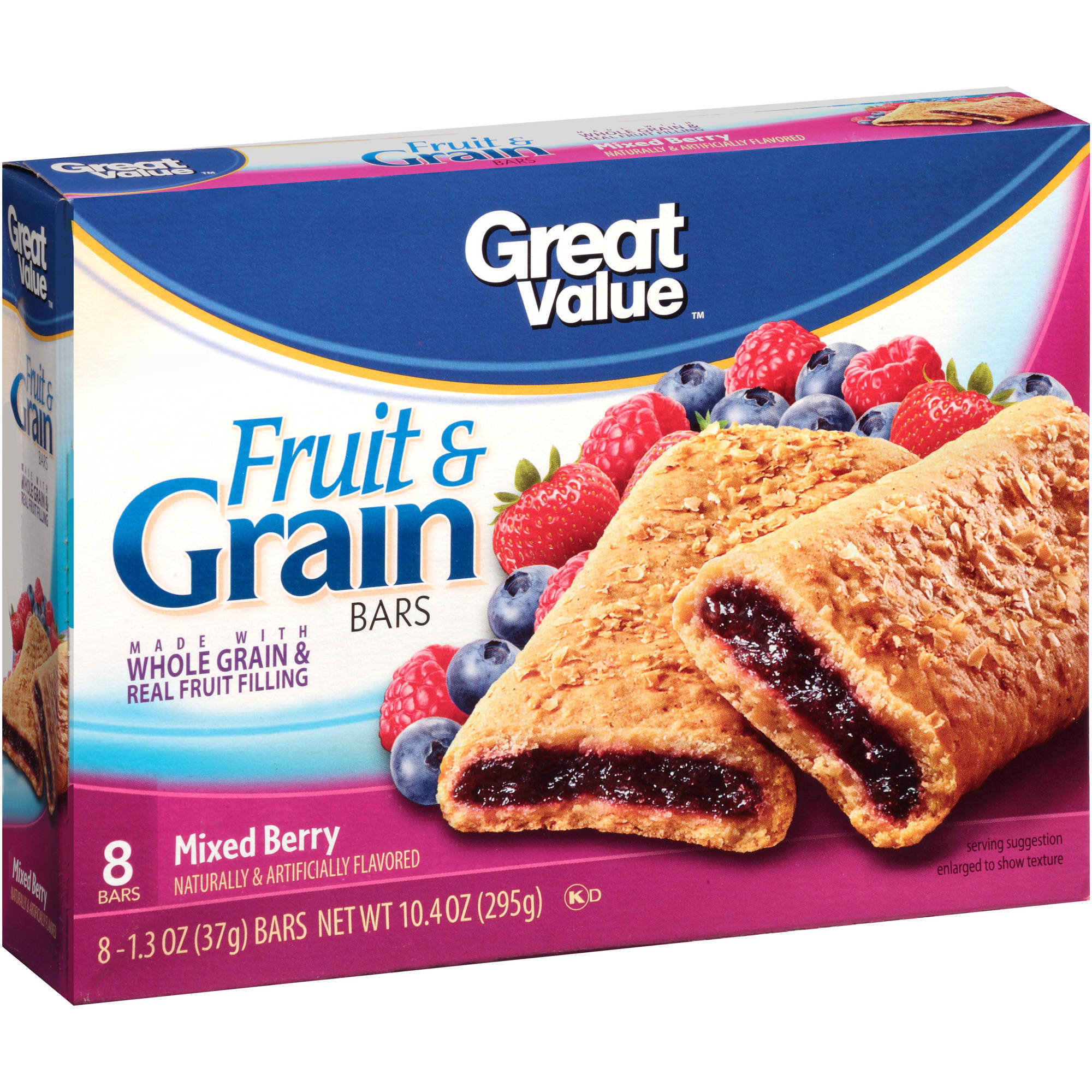 Great Value Mixed Berry Fruit & Grain Bars, 10.4 oz