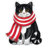 Christmas Gift Tags 4pk Large Cate w Scarf Ornament