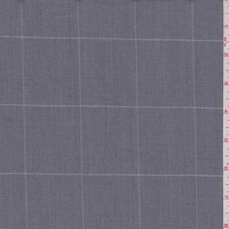 Sterling Windowpane Check Wool Suiting Fabric By The Yard