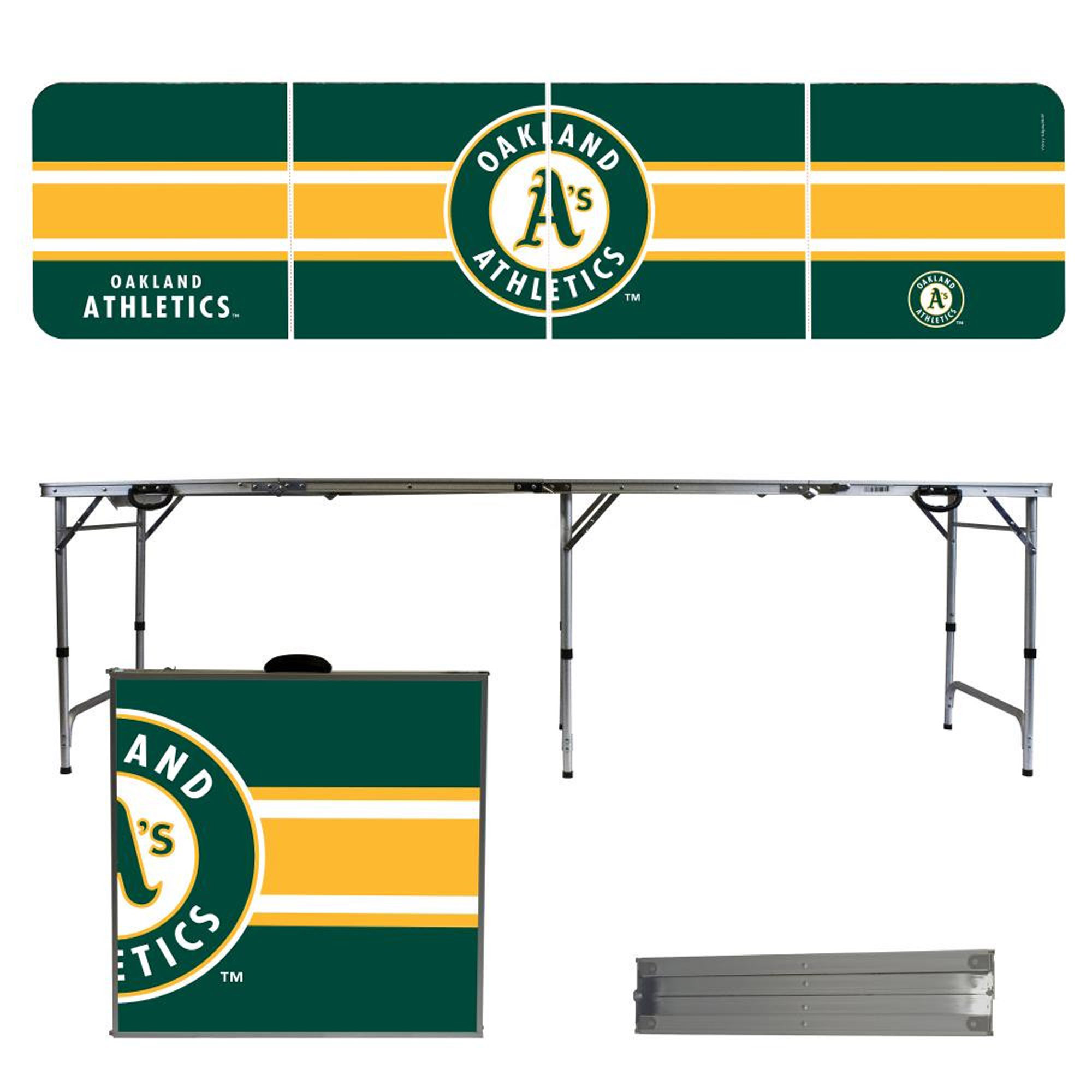 Oakland Athletics Striped Design 8' Portable Folding Tailgate Table - No Size