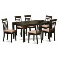 7 Piece Dining Table Set For 6-Table With Leaf and 6 Kitchen Dining Chairs